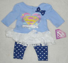 Baby Mädchen Kleid Set 2tlg Kleid + Hose SUPERGIRL 🐞 Langarm  56/62 🐞 NEU