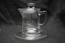 Glass Syrup Pitcher with Glass Lid and Underplate - Fostoria - Etched Glass