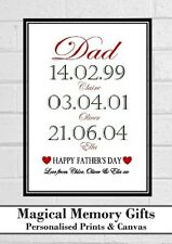Father's day gift for dad daddy grandad our story dates personalised print a4