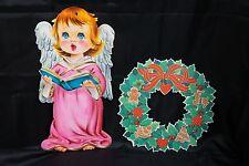 VTG 2 Pcs Christmas CAROLING ANGEL WREATH Paper DIE CUT OUT DECOR Reindeer Holly