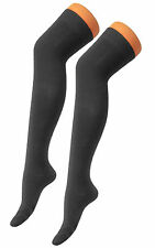 Black Soft Stretchy Over The Knee High Adult Schoolgirl Socks Comfy Poly Cotton