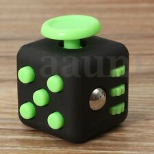 Stress Relief Focus 6-side Figet Magic Cube Dice Toy For Adults Kids Black&Green