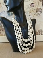 Vintage Multi Strand Off White Faux Pearl Glass Beads Choker Necklace Japan