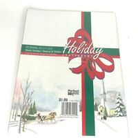 """Holiday Stationery 8.5 x11"""" New Sealed 25 Sheets Christmas Horse Drawn Carriage"""