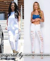 Womens Ladies Ripped Skinny Stretchy Denim Jeans raw hem 8 10 12 14 WHITE 1