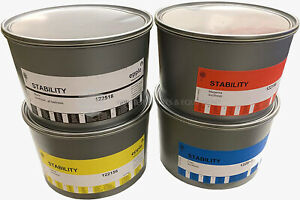 Set of CMYK Process Inks for Offset Printing - 4 5LB Cans