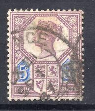 """GB = 1887 5d Jubilee. SG207. 1887 die 1 utilisé """"Exchange/LIVERPOOL"""" double anneau."""