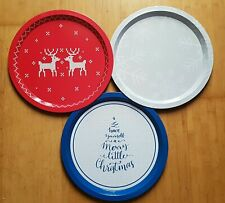 Set Of 3 Metal Christmas Trays