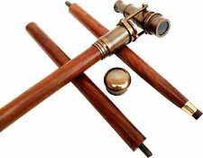 Spy Brass Telescope on Handle Wooden 3 fold Walking Cane Stick With Hidden
