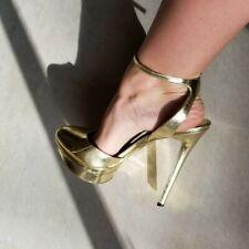 B BRIAN ATWOOD Fontenay Metallic Gold Platform Pump High Heels Sz 8 38