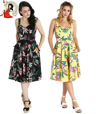 HELL BUNNY KALANI 50s DRESS HAWAIIAN tropical rockabilly YELLOW BLACK XS-4XL