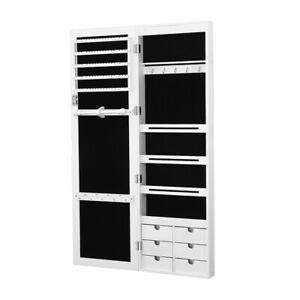 Levede Jewellery Cabinet Full Length Mirror Mirrored Organizer Box Stand White