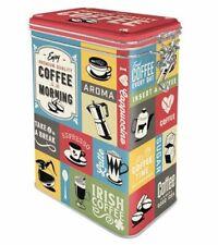Retro COFFEE MORNING Collage 3D CLIP TOP STORAGE TIN Cookie Jar