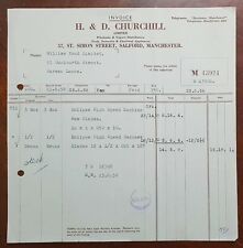 1958 H. & D. Churchill, Tools, 57 St. Simon Street, Salford, Manchester Invoice