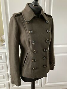 Military Style Double Breasted Khaki GreenBrown Ladies Jacket Size8, Red Herring