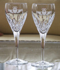 Claddagh Wedding Red Wine Glasses Galway Irish Crystal set of two
