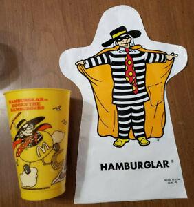 Rare Vintage McDonaldland Hamburglar Cup And Puppet Lot