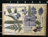 RARE LIMITED GARDEN FLORAL COLLAGE Stamps Happen Wood Mounted Rubber Stamp