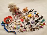 Bundle of Toy Animals Figures Plush Hello Kitty Sweep Pingu Cats Dogs Bunny Farm