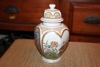 Vintage Japan Lidded Spice Jar Colorful Flowers Birds