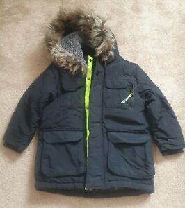 Boys Black Winter School Coat Fur Hood Excellent Condition Age 4-5 Years George