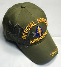 US Army SPECIAL FORCES AIRBORNE Ball Cap OD Green Beret Ranger Shoulder Tab Hat