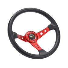 6 Bolt Aluminum Racing Steering Wheel PVC Sports Drifting Wheel Black& Red