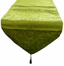 35cm x 152cm Lime Green Damask Table Runner - Wedding Accessories - (MR1LG)