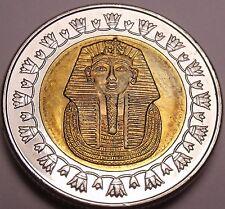 Gem Unc Bi-Metal Egypt 2007 1 Pound~King Tutankhamun~Read The History~Free Ship