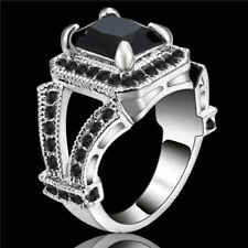 Size 8 Black Sapphire 18K White Gold Filled Fashion Man's Wedding Rings Gift