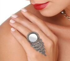Bollywood Oxidized Silver Plated Handmade Adjustable Mirror Big Ring for women