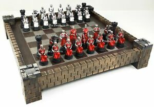 """MEDIEVAL TIMES CRUSADES Red & White Maltese Knight Chess Set 17"""" CASTLE BOARD"""