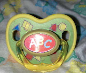 Vintage Evenflo Silicone Pacifier-Yellow-ABC&123!! RARE!!Motion Effects