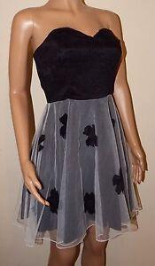 VICKY MARTIN floral black white tutu prom corset strapless mini dress 10 BNWT