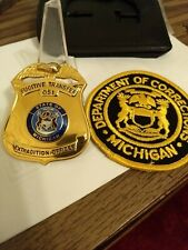 Obsolete Michigan Corrections Badge & Patch Blackinton. Wallet Included.