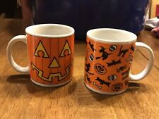 (2) Bee International Halloween Coffee Cups Mugs Jack O Lantern Face Witch Skull