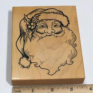 PSX K-292 Santa Gift Tag Rubber Stamp Old Fashioned Santa Claus Face Christmas