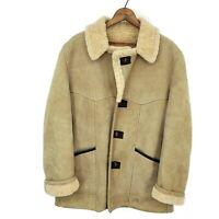 Vintage Shearling Suede Rancher Coat Mens 44  Marlboro Man Jacket Button Front