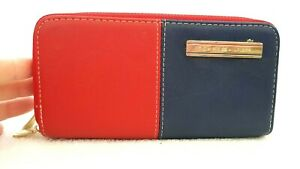 TOMMY HILFIGER Womens Designer Small Red/Blue Leather Dual Compartment Wallet
