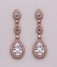 Rose gold crystal bridal earrings
