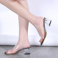 Women Transparent Clear Med Block Heels Sandals Slippers Strappy Open Toe Shoes