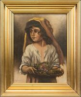 » Young Girl with Flowers« Girl With Flowers Italy I Italia Napoli 37 X 31