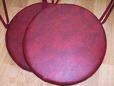 2 Sedia Sala Da Pranzo Rotondo Sgabello cuscini imbottitura del sedile rosso nero in finta pelle 1 1/2 Deep Schiuma