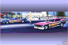 "The 77 ""Revellution""Dart vs.""Hawaiian""Monza...Drag Racing Art Print"