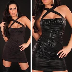 Wet Look Little Black Sexy Bodycon Party Evening Short Mini Dress size 8 10