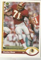 FREE SHIPPING-MINT-1991 Upper Deck #278 Charles Mann Redskins PLUS BONUS CARDS