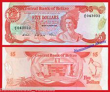 BELICE BELIZE 5 Dollars dolares 1989 Pick 47b SC / UNC