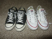 2 Lot Converse All Star Tennis Shoes Athletic Black White 8.5 and 9 Lounge Dress