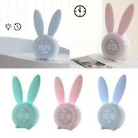 Bunny Rabbit Kids Wake Up Alarm Clock Silicone Toddler Children Night Light