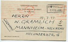Middle East 1942 WWII German Prisoner of BRITISH ARMY ,Censored pc to Germany
